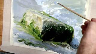 Видеоурок Масляная живопись.Часовой этюд камня у воды