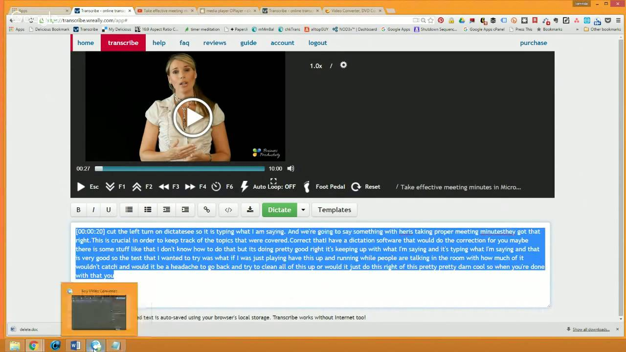 how to transcribe audio  minutes  class  meeting  video