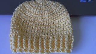 Repeat youtube video How to crochet Ribbed Beanie - Style 2 (también en Español) - Yolanda Soto Lopez