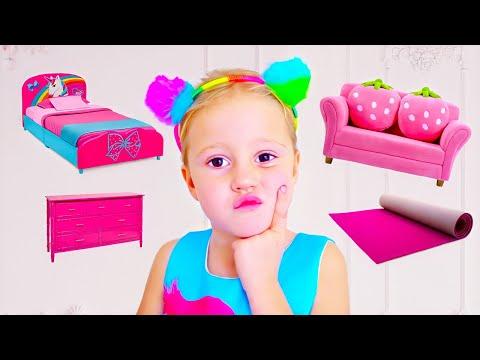 ستايسي والأب يزينان الغرفة الجديدة.