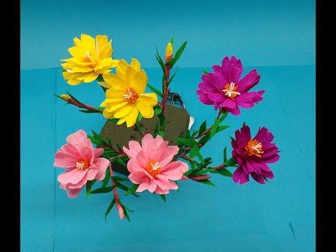 How to make Paper Flowers Moss Rose /Portulaca (flower # 208)