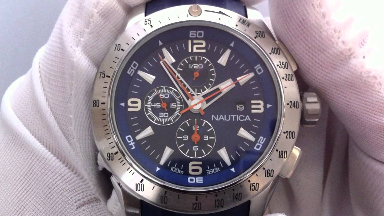 862300c9719 Men s Blue Nautica NST Chronograph Watch N17592G - YouTube
