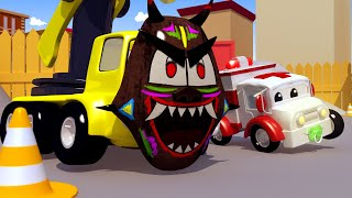 Baby Charlie the CRANE FELL Into a Pothole ! Amber the Ambulance Saves Car City - Cars 3D Cartoon