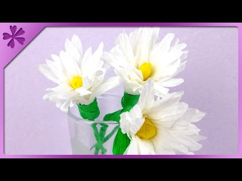 DIY Tissue paper daisies (ENG Subtitles) - Speed up #84