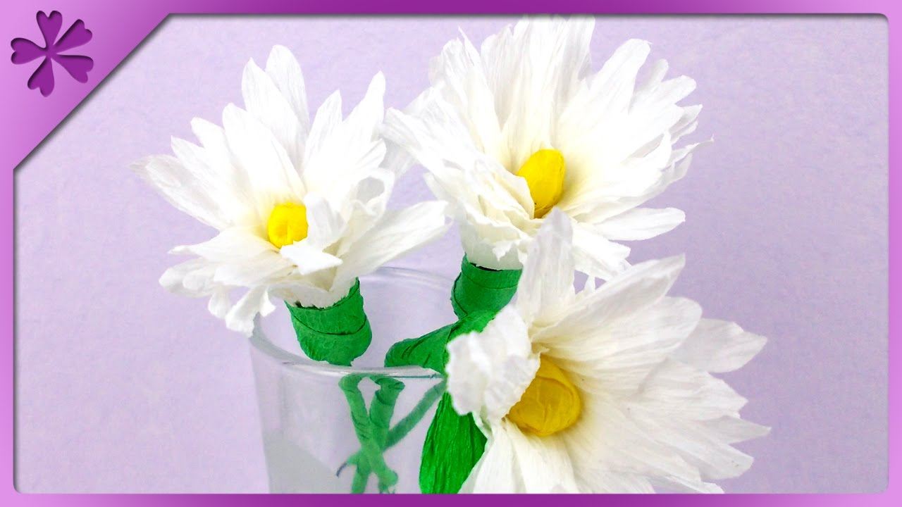 DIY Tissue paper daisies (ENG Subtitles) - Speed up #84 - YouTube