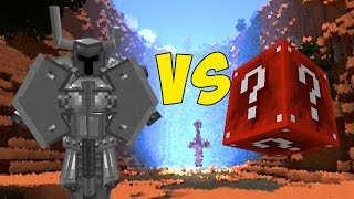 CAVALEIRO MANIACO DE METAL VS. LUCKY BLOCK DE REDSTONE (MINECRAFT)