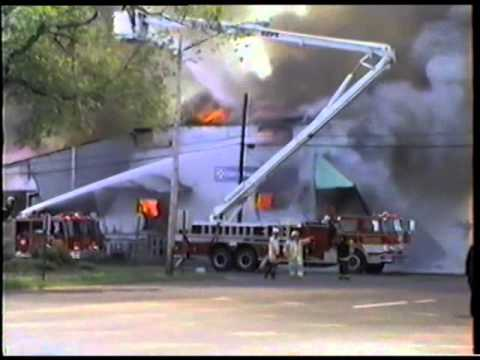 Dan's feed bin in Superior Wisconsin burning to the ground June 23, 1991