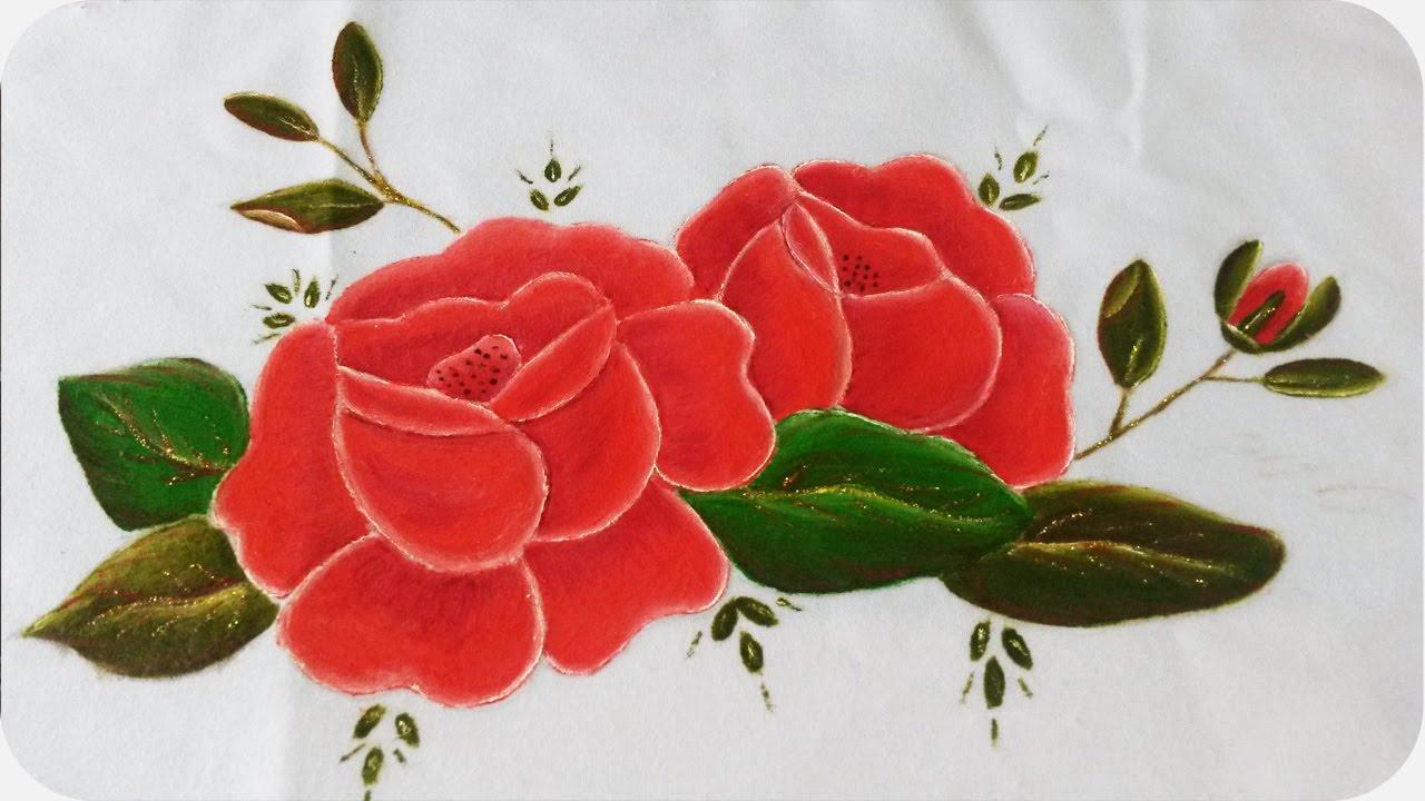Rosas rojas pintura sobre tela 2 2 youtube - Dibujos para pintar en tela infantiles ...