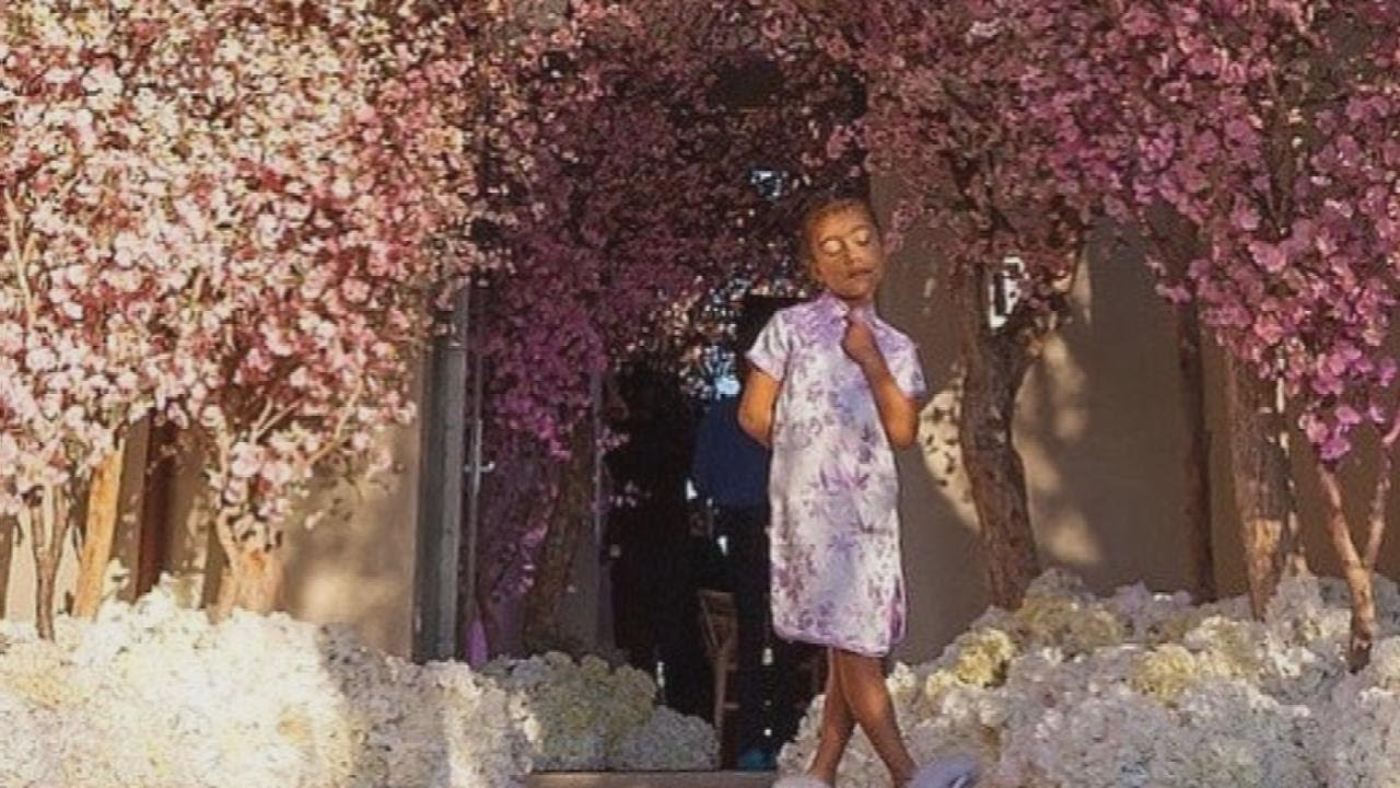 North West Steals The Show At Kim Kardashians Cherry Blossom Themed