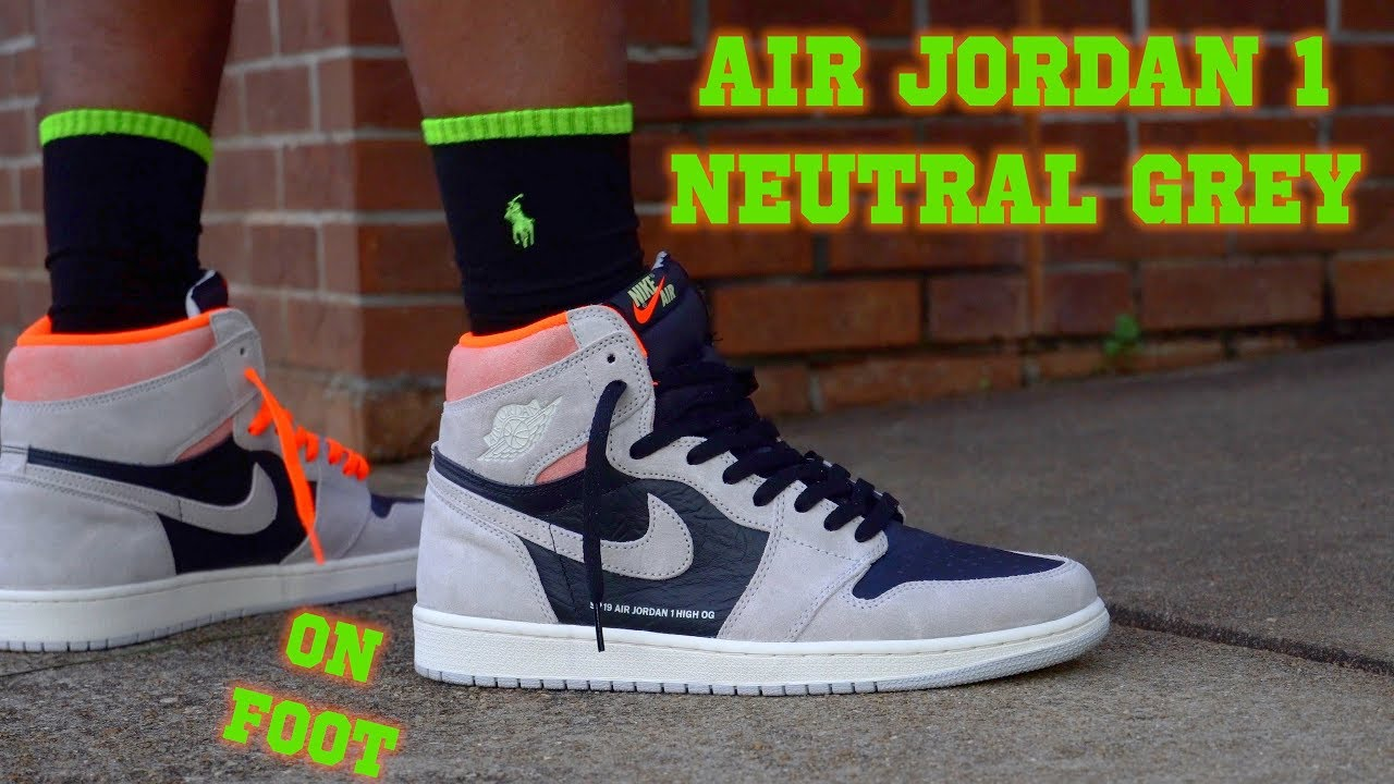 92ba239838f AIR JORDAN 1 RETRO HIGH OG NEUTRAL GREY HYPER CRIMSON ON FOOT - YouTube