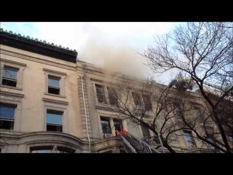 FDNY BATTLING MAJOR 4 ALARM FIRE ON WEST 76TH STREET ON UPPER WESTSIDE OF MANHATTAN, NEW YORK CITY.