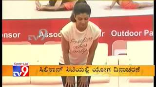 Shilpa Shetty Doing Yoga in Kanteerava Stadium on International Yoga Day
