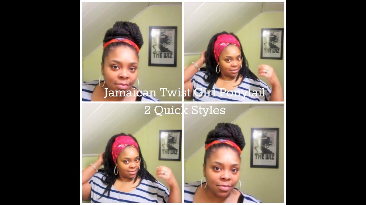 1315: jamaican twist girl ponytail - quick styles - youtube