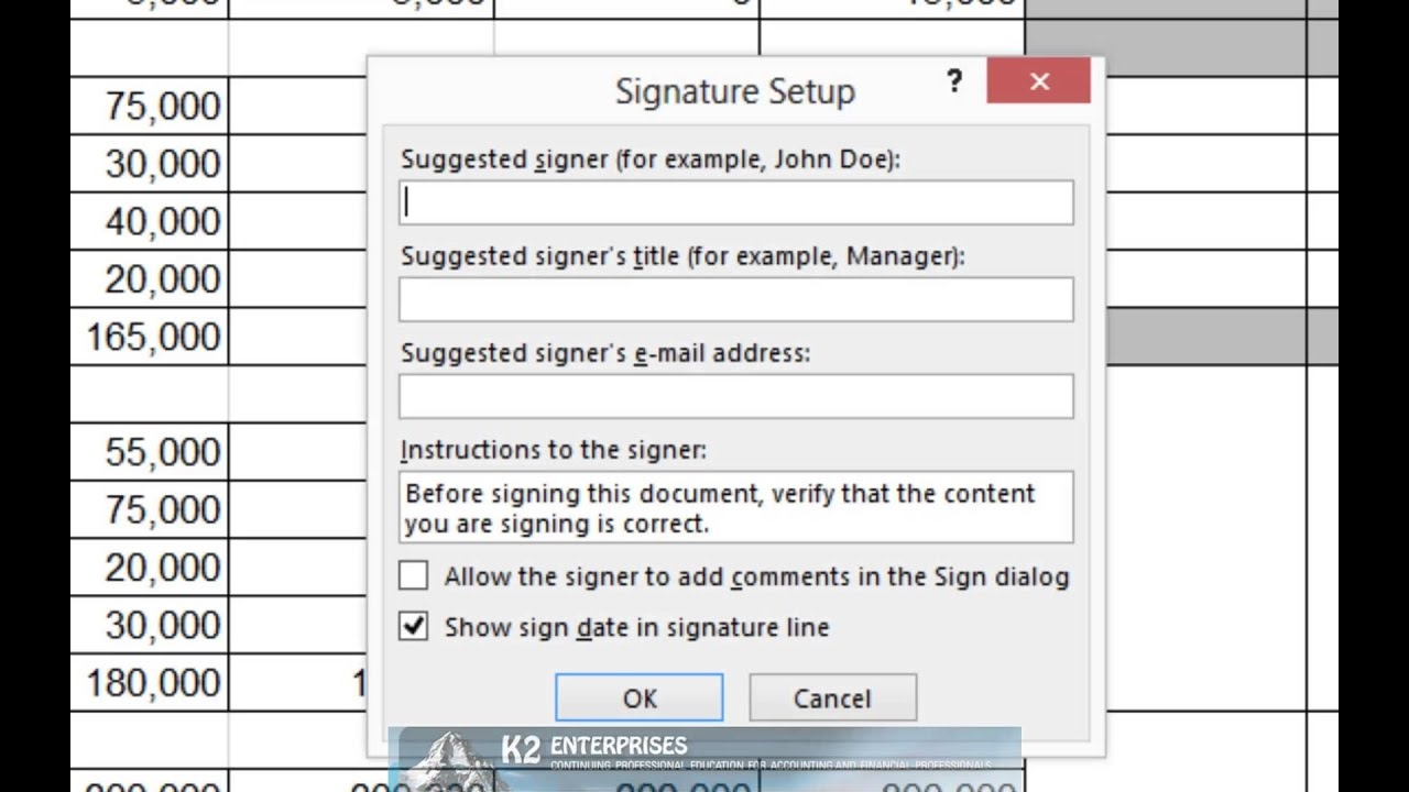 Inserting Signature Lines Into Excel And Word Documents - YouTube