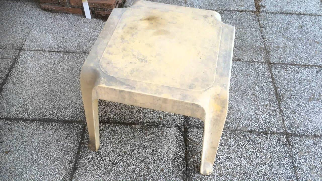 Como pintar una mesa de plastico o resina youtube for Mesas de jardin de resina