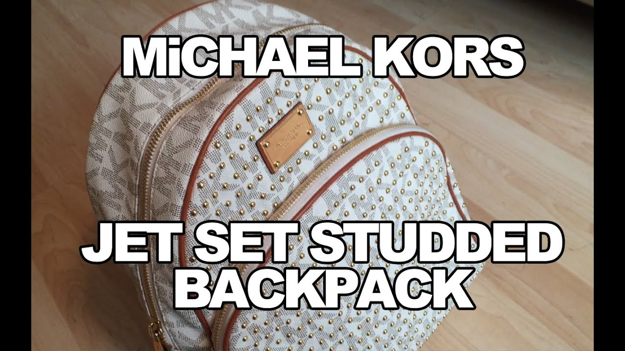 4a1f28a1b942 MiCHAEL KORS JET SET STUDDED BACKPACK REViEW - YouTube