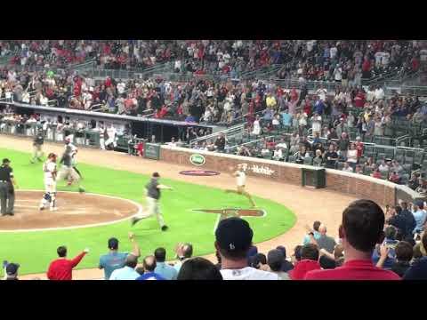 Fan trespasses field at Atlanta Braves game at Suntrust Park