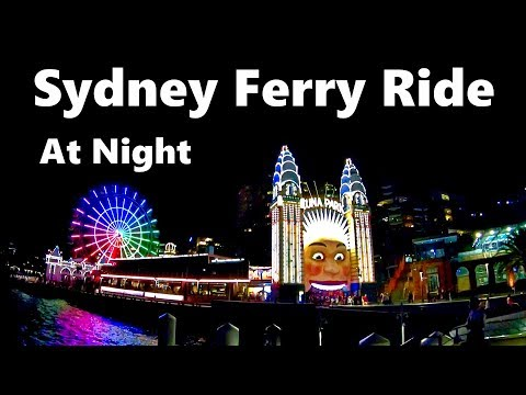 Sydney Ferry Ride At Night From Circular Quay To Barangaroo