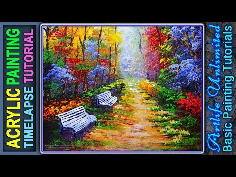 BASIC ACRYLIC PAINTING TUTORIAL LANDSCAPE with AUTUMN FOREST PARK and BENCH | LESSON FOR BEGINNERS