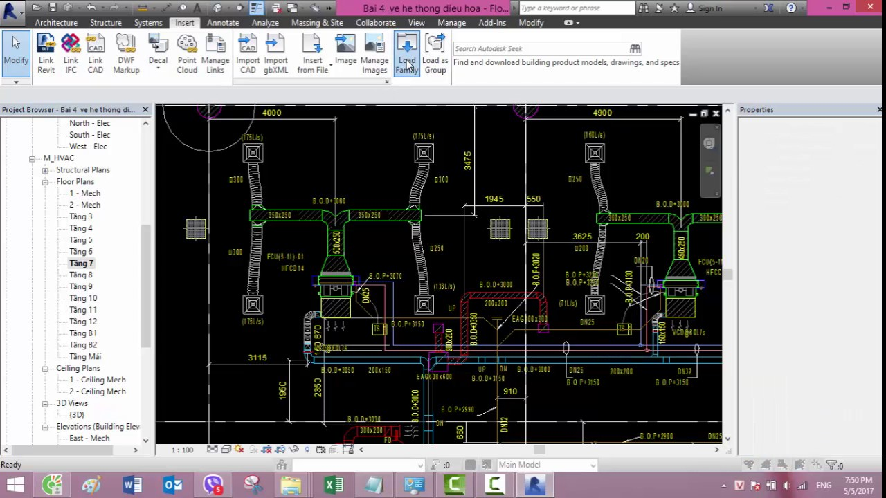 Bai 4 Vẽ hệ thống điều hòa không khí HVAC trong revit MEP- how to draw ducts and size them – Revit
