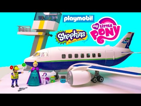 playmobil-passenger-airplane-airport-tower-playset-toy-review-with-disney-queen-elsa-shopkins-mlp