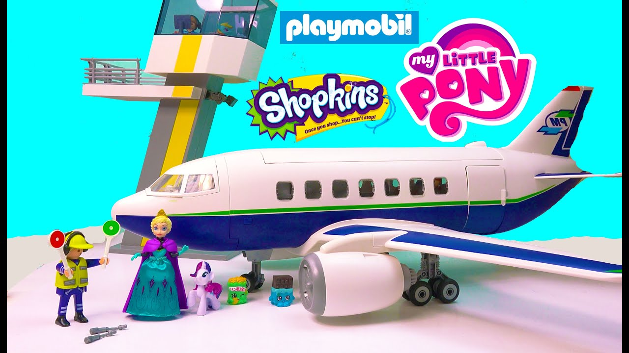 Playmobil Passenger Airplane Airport Tower Playset Toy Review with ...