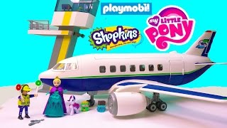 Playmobil Passenger Airplane Airport Tower Playset Toy Review with Disney Queen Elsa Shopkins MLP
