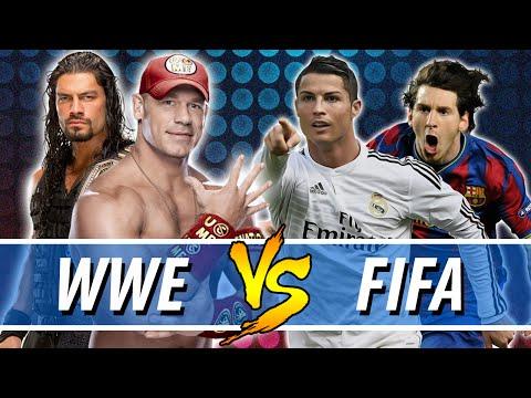 John Cena & Roman Reigns VS Cristiano Ronaldo & Lionel Messi | WWE VS FIFA (WWE 2K16 PC Mods)