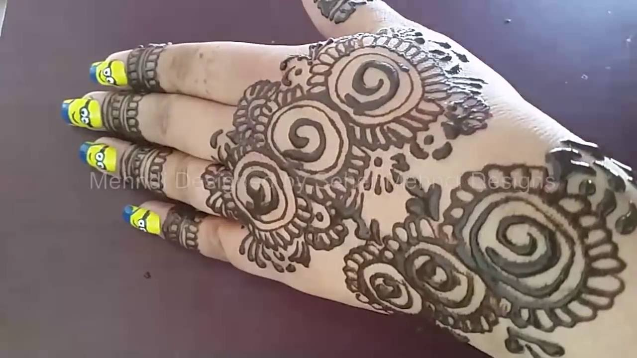 Simple Mehndi Design Art With Nail Art Youtube