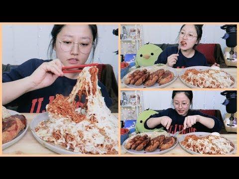 Mala Fire Noodles with cheese +  Shrimp&Fish Katsu Cooking Mukbang| KEEMI★