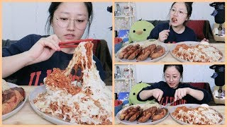Mala Fire Noodles with cheese +  Shrimp&Fish Katsu Cooking Mukbang  KEEMI★