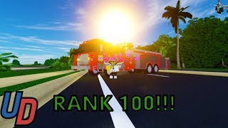 Reaching rank 100 on the Fire Fighter/EMT on Ultimate Driving Roblox