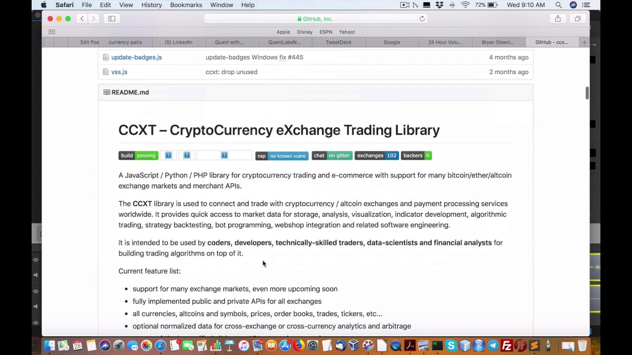 CCXT Python package wrapper best to stay on top of Bitcoin crypto currency  exchanges