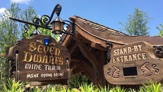 Seven Dwarfs Mine Train Details Includes Signage, Queue, Dopey Riding, Dwarfs Inside Mine, Disney