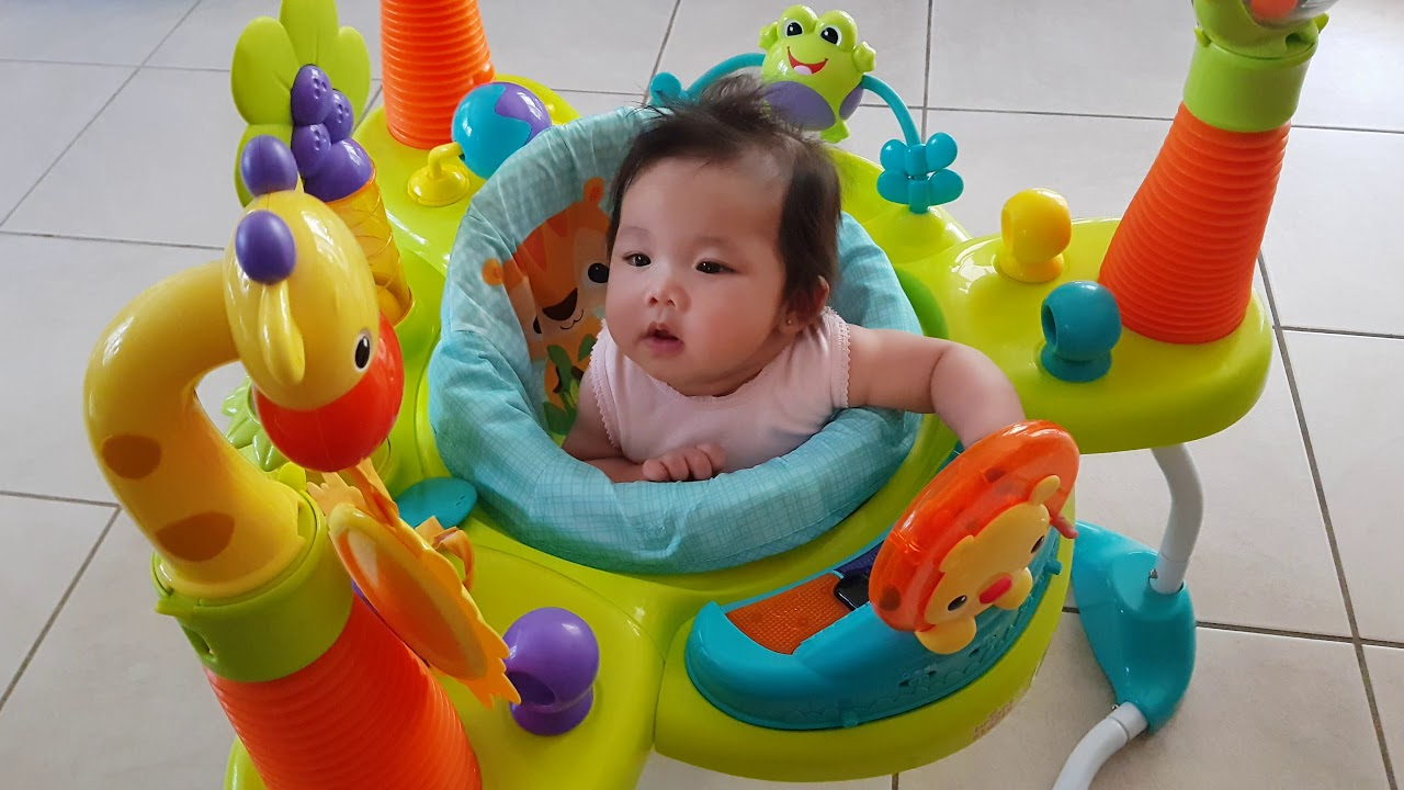 654211f06 Bright Starts Smiling Safari Jumper - 4 month old baby - YouTube