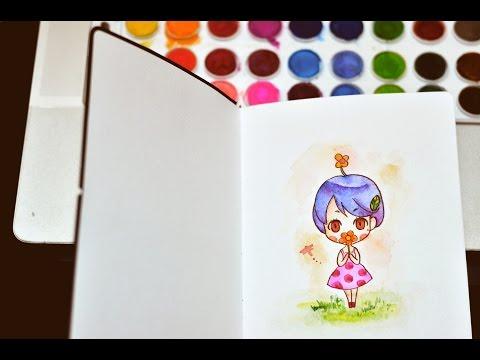 สาธิตการวาดการ์ตูนอย่างง่ายๆ ด้วยสีน้ำและปากกาพู่กัน