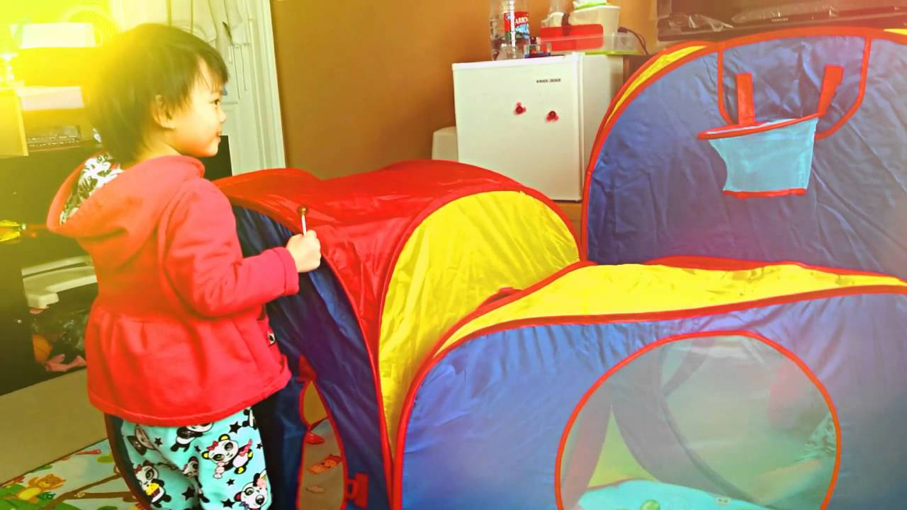 Kaylee Hailey Exploring Playhut Mega Fun Play Tent & Kaylee Hailey Exploring Playhut Mega Fun Play Tent - YouTube