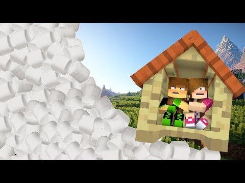 Minecraft: DESAFIO DA BASE 100% SEGURA CONTRA TSUNAMI DE MARSHMALLOW! (TSUNAMI BASE CHALLENGE!)