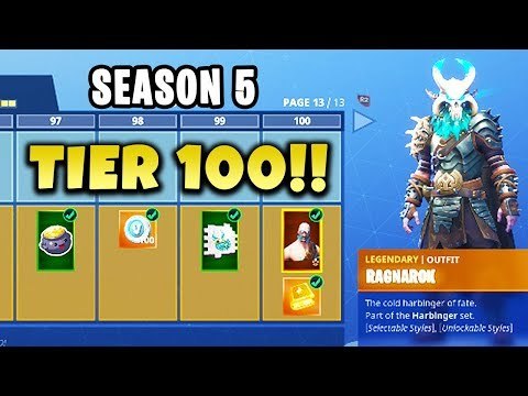 ALL 100 TIERS - Season 5 Battle Pass SKINS UNLOCKED! (FORTNITE) Chaos