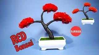 RED BONSAI | BONSAI MERAH DARI KRESEK BEKAS | BEST OUT OF WASTE CRAFT IDEA