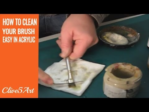How to clean your paint brushes, acrylic painting clive5art