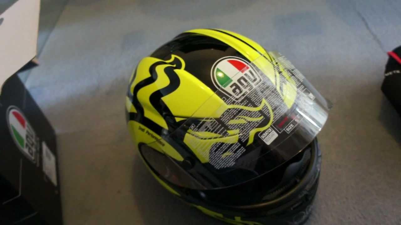 Valentino Rossi Moto GP Ducati Yellow AGV Winter Test Helmet - YouTube