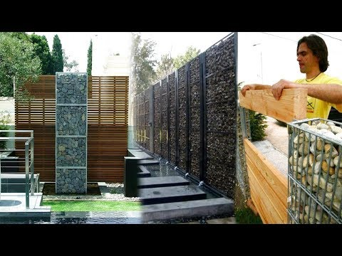 Stone Fence Ideas | Stone Net boundary wall, DIY Gabion Walls | Stone Walls & Rock Fence Design