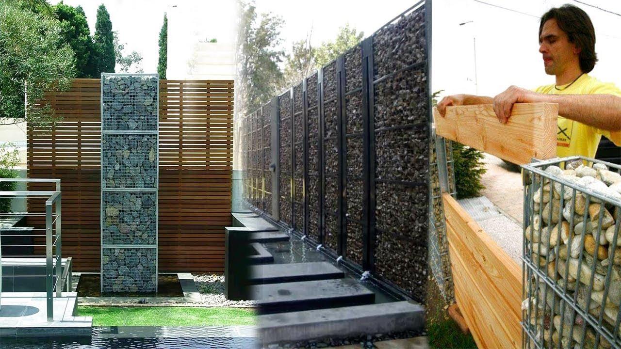 Stone Fence Ideas Stone Net Boundary Wall Diy Gabion