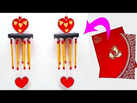 DIY Wind Chime/jhumar/Door Hanging From waste wedding card |Jhumar craft idea|DIY Room Decor