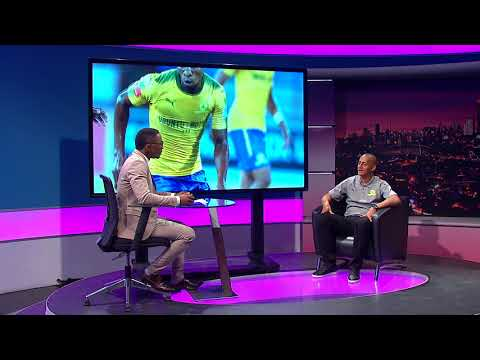 Andile Ncube chats to Mamelodi Sundowns defender Wayne Arendse