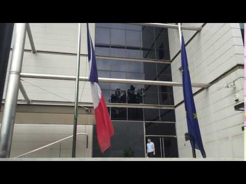 Flags at half mast inside the French Embassy
