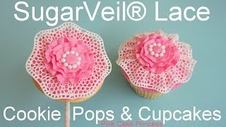SugarVeil® Icing Edible Lace Wedding Cookie Pops & Cupcakes how-to