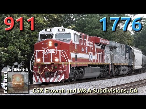 [6m][4k] Chasing CSX #911 And #1776 In North Georgia, Etowah And W&A Subdisivions 06/12/2019