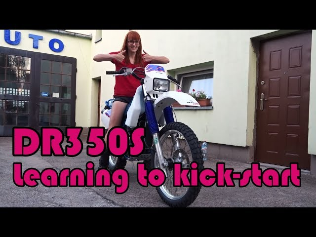 Kick-starting DR350S by girl for the first time (and first ride) :D